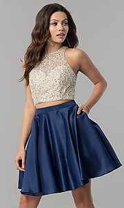 Image of short two-piece v-back homecoming dress with pockets.  Style: DQ-2027 Front Image