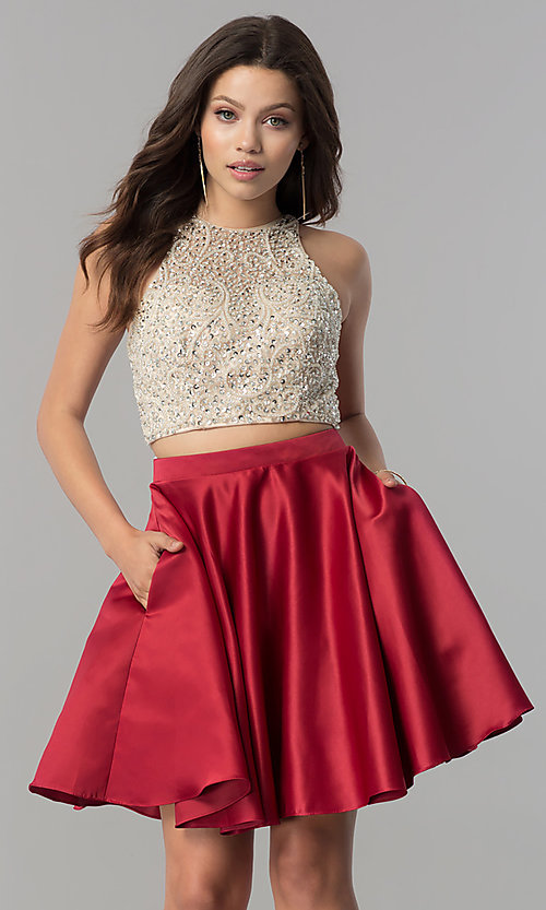 Image of short two-piece v-back homecoming dress with pockets.  Style: DQ-2027 Detail Image 2