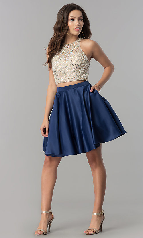 Image of short two-piece v-back homecoming dress with pockets.  Style: DQ-2027 Detail Image 1