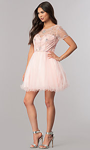 Image of short prom dress with short-sleeved illusion bodice. Style: DQ-2028 Detail Image 1