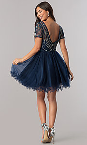 Image of short prom dress with short-sleeved illusion bodice. Style: DQ-2028 Detail Image 2