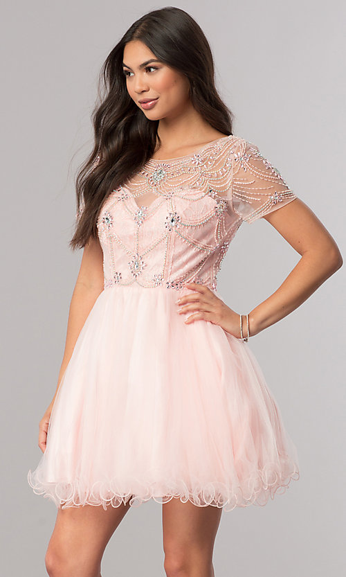 Image of short prom dress with short-sleeved illusion bodice. Style: DQ-2028 Front Image