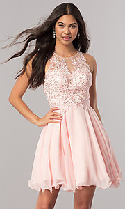 Image of short homecoming dress with beaded-lace bodice.  Style: DQ-2076 Detail Image 1