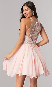 Image of short homecoming dress with beaded-lace bodice.  Style: DQ-2076 Back Image