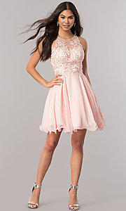Image of short homecoming dress with beaded-lace bodice.  Style: DQ-2076 Detail Image 2