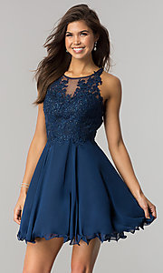 Image of short homecoming dress with beaded-lace bodice.  Style: DQ-2076 Front Image