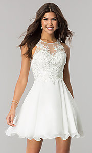 Image of short homecoming dress with beaded-lace bodice.  Style: DQ-2076 Detail Image 3