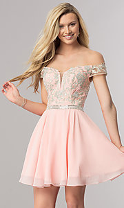 Image of beaded-bodice short off-the-shoulder homecoming dress. Style: DQ-9983 Detail Image 3