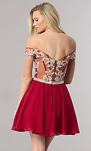 Image of beaded-bodice short off-the-shoulder homecoming dress. Style: DQ-9983 Back Image