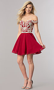Image of beaded-bodice short off-the-shoulder homecoming dress. Style: DQ-9983 Detail Image 1
