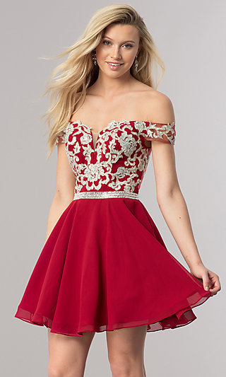 Beaded-Bodice Short Off-the-Shoulder Homecoming Dress