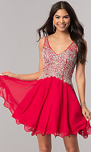 Image of short v-neck homecoming party dress with beaded bodice.  Style: DQ-2113 Front Image