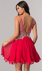 Image of short v-neck homecoming party dress with beaded bodice.  Style: DQ-2113 Back Image