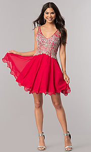 Image of short v-neck homecoming party dress with beaded bodice.  Style: DQ-2113 Detail Image 1