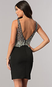 Image of beaded short homecoming dress with v-neck bodice.  Style: DQ-2114 Detail Image 2