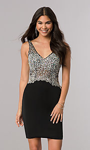 Image of beaded short homecoming dress with v-neck bodice.  Style: DQ-2114 Detail Image 1
