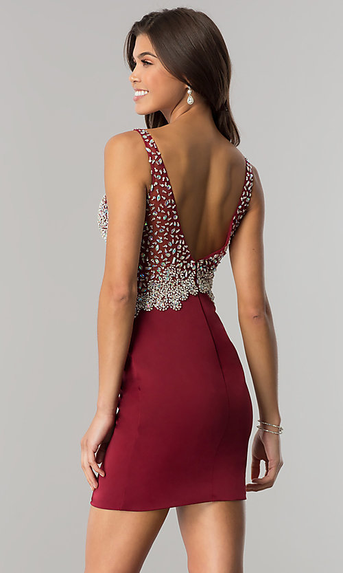 Image of beaded short homecoming dress with v-neck bodice.  Style: DQ-2114 Back Image