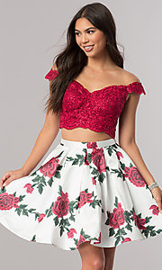 Image of short two-piece homecoming party dress with print. Style: DQ-2031 Front Image