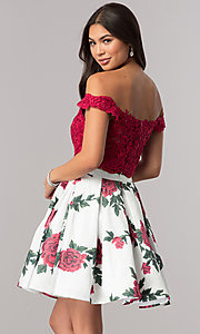 Image of short two-piece homecoming party dress with print. Style: DQ-2031 Back Image