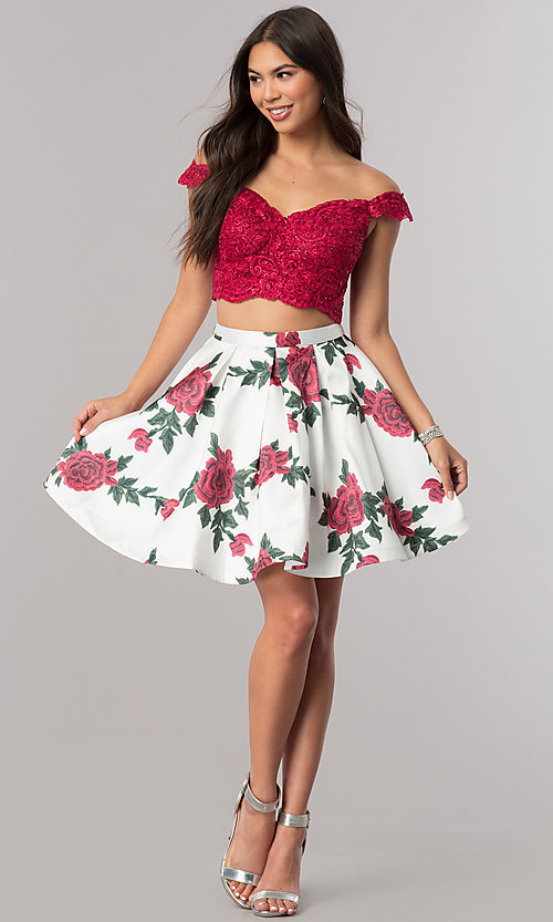 Image of short two-piece homecoming party dress with print. Style: DQ-2031 Detail Image 1