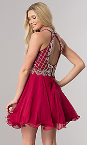 Image of burgundy red short homecoming dress with beading.  Style: DQ-2116 Back Image