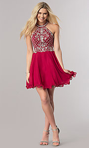 Image of burgundy red short homecoming dress with beading.  Style: DQ-2116 Detail Image 1