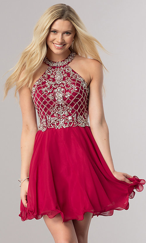 Image of burgundy red short homecoming dress with beading.  Style: DQ-2116 Front Image