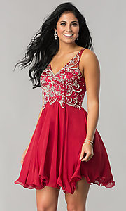 Image of short homecoming dress with beaded illusion bodice. Style: DQ-9998 Detail Image 2