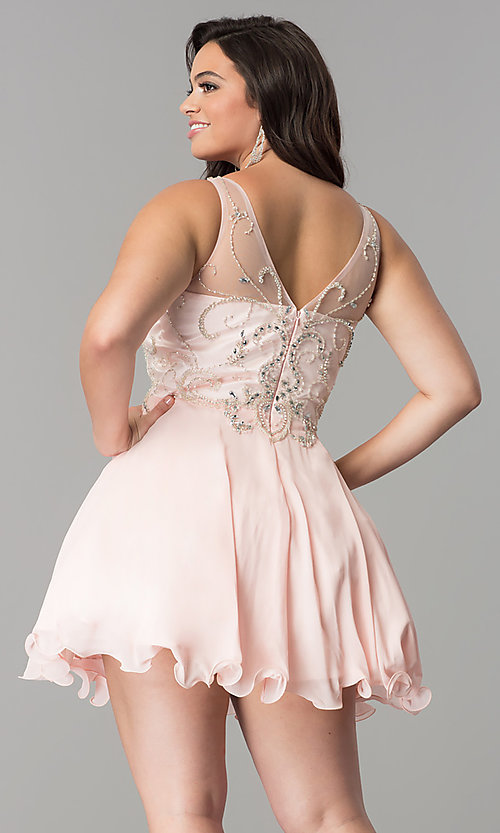 Image of short homecoming dress with beaded illusion bodice. Style: DQ-9998 Back Image