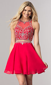 Image of beaded-bodice short mock-two-piece homecoming dress. Style: DQ-2123 Front Image
