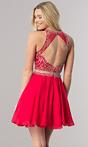 Image of beaded-bodice short mock-two-piece homecoming dress. Style: DQ-2123 Back Image
