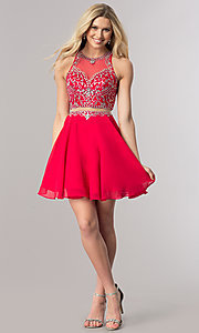 Image of beaded-bodice short mock-two-piece homecoming dress. Style: DQ-2123 Detail Image 1