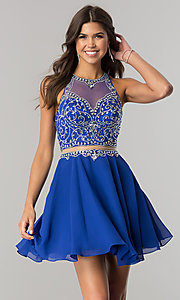Image of beaded-bodice short mock-two-piece homecoming dress. Style: DQ-2123 Detail Image 2