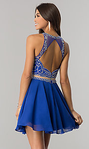 Image of beaded-bodice short mock-two-piece homecoming dress. Style: DQ-2123 Detail Image 3