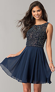 Image of lace-applique short chiffon a-line homecoming dress. Style: DQ-2135 Detail Image 2