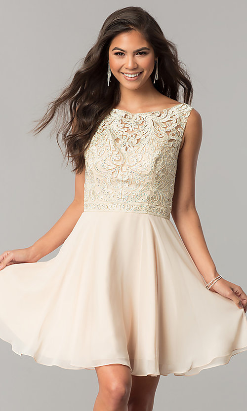 da8a5ba43527 Image of lace-applique short chiffon a-line homecoming dress. Style: DQ