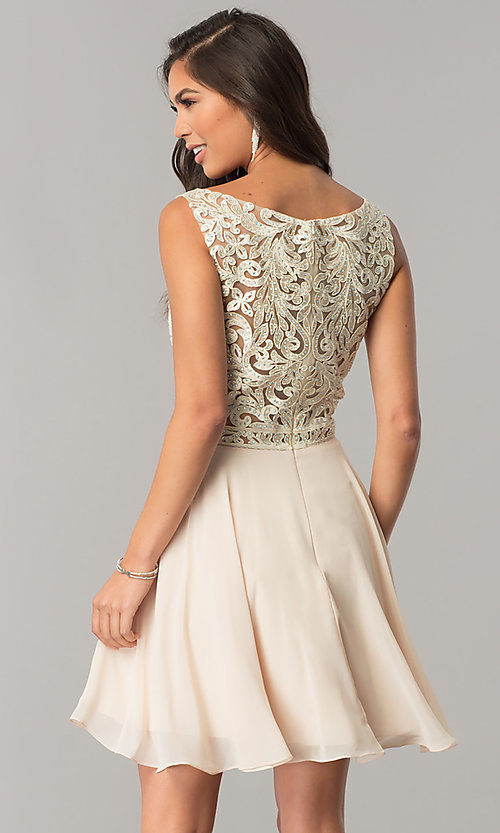 Image of lace-applique short chiffon a-line homecoming dress. Style: DQ-2135 Back Image