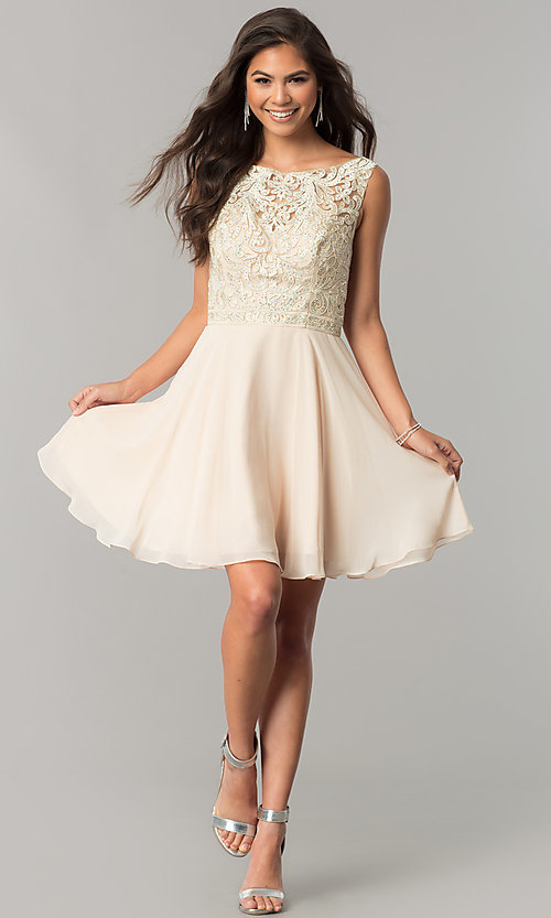Image of lace-applique short chiffon a-line homecoming dress. Style: DQ-2135 Detail Image 1
