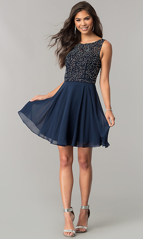 Image of lace-applique short chiffon a-line homecoming dress. Style: DQ-2135 Detail Image 3