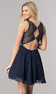 Image of short navy blue homecoming dress with beaded bodice. Style: DQ-2124 Back Image