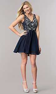 Image of short navy blue homecoming dress with beaded bodice. Style: DQ-2124 Detail Image 1