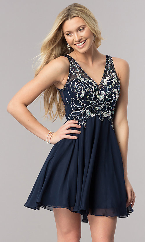 f56a1248 Image of short navy blue homecoming dress with beaded bodice. Style: DQ-2124