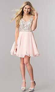 Image of short chiffon homecoming dress with beading. Style: DQ-2118 Detail Image 2