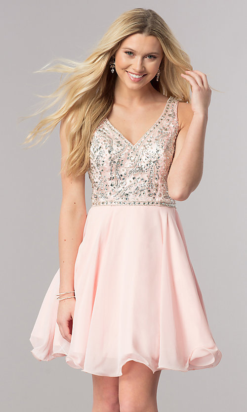 Image of short chiffon homecoming dress with beading. Style: DQ-2118 Detail Image 1