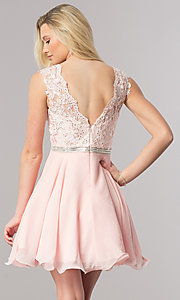 Image of short lace-bodice homecoming dress in blush pink. Style: DQ-2117 Back Image