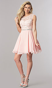 Image of short lace-bodice homecoming dress in blush pink. Style: DQ-2117 Detail Image 1