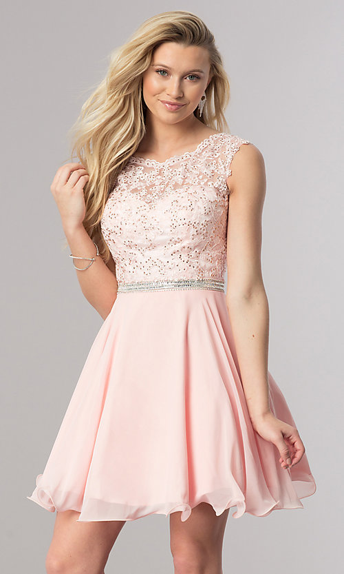 Image of short lace-bodice homecoming dress in blush pink. Style: DQ-2117 Front Image