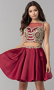 Image of two-piece short homecoming dress with metallic lace. Style: DQ-2106 Detail Image 1