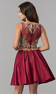 Image of two-piece short homecoming dress with metallic lace. Style: DQ-2106 Detail Image 2