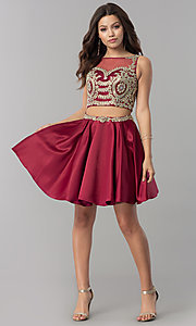 Image of two-piece short homecoming dress with metallic lace. Style: DQ-2106 Detail Image 3